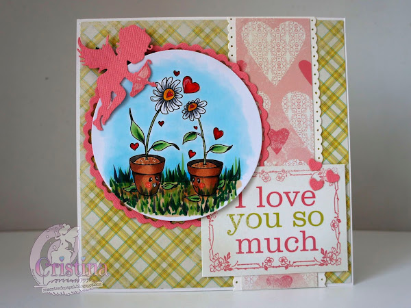 Love Grows, a romantic card with a couple of pots.