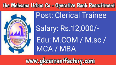 The mahsana urban Co operative Bank Recruitment