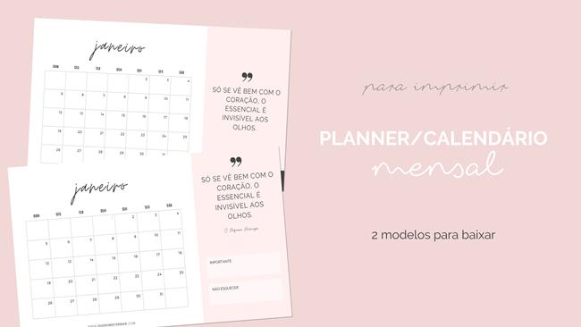 2 Modelos Calendário Mensal 2020 Gratuito para Fazer Download e Imprimir