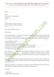 complaint letter to courier company for missing goods