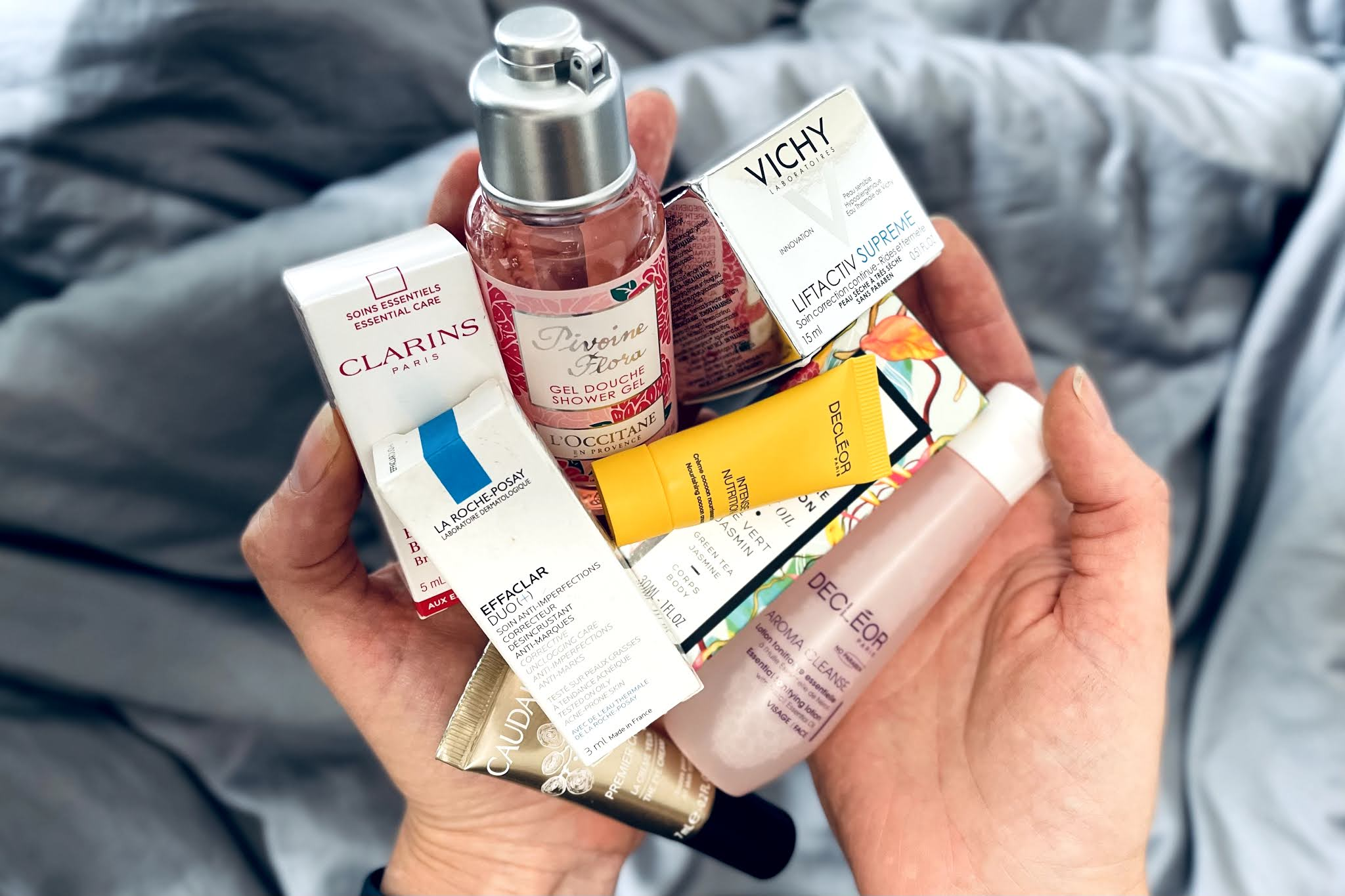 A selection of sample size skincare and beauty products from French companies including well known brands and hidden gems