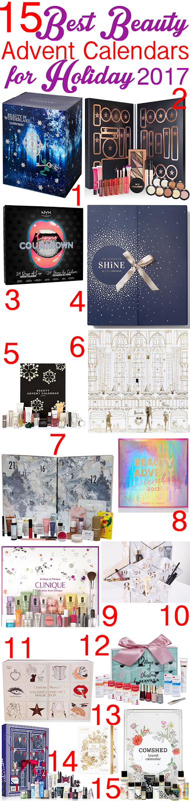 15 best Beauty Advent Calendars for Holiday 2017 that ship worldwide: prices, contents, spoilers, and more.