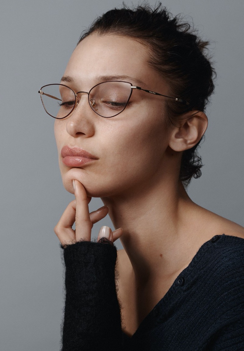Model Bella Hadid fronts Miu Miu eyewear spring-summer 2020 campaign.