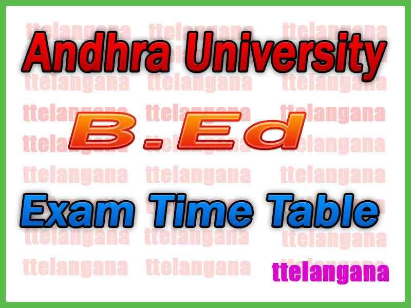 Andhra University AU B.Ed Exam Time Table