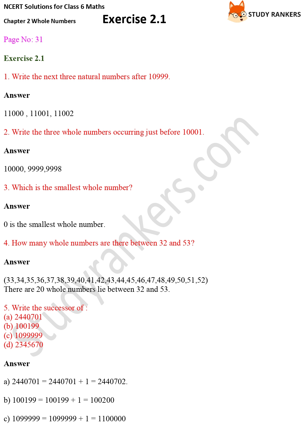 NCERT Solutions for Class 6 Maths Chapter 2 Whole Numbers Exercise 2.1 Part 1