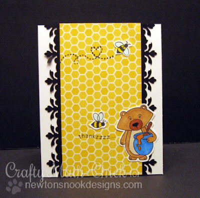 Honey bee Thankzzz Card by Crafty Math Chick | Winston's Honeybees stamp set by Newton's Nook Designs