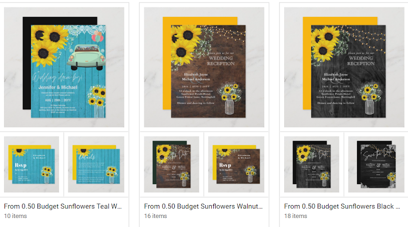 budget Sunflower country western rustic wedding invitations
