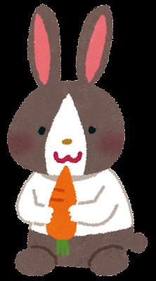 ウサギのイラスト「白黒うさぎ」(動物)