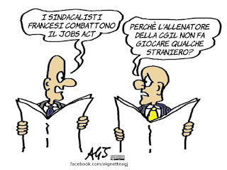 jobs act, francia, sindacati, cgil, scioperi, vignetta, satira