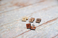 Wood quilt block earrings