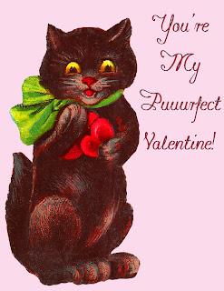 valentine greeting image printable black cat hearts design