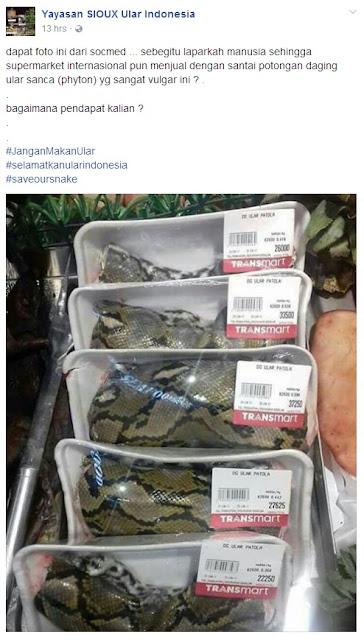 Transmart jual daging ular