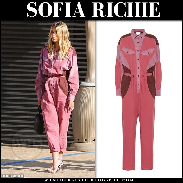 Sofia Richie in pink jumpsuit isabel marant guan. Celebrity summer style