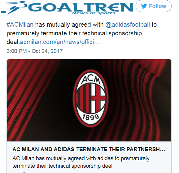 Manufacturer of apparel of origin Germany was already accompanying the Rossoneri for about two decades. They had a chance to renew his contract with Milan in January 2013.