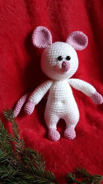 -valge -rott -rotiaasta -talisman-amigurumi -heegeldamine -crochet -rat -softtoy -animal -mouse -