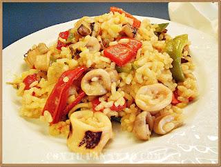 Arroz con verduras y calamares