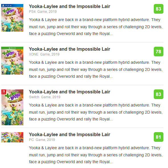 Yooka-Laylee and the Impossible Lair Metacritic scores release day