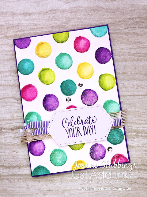 Jo's Stamping Spot - Just Add Ink Challenge #531 - Fun watercolour birthday card using Brights Collection by Stampin' Up!