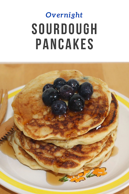 Light and fluffy pancakes made with sourdough starter are a perfect weekend breakfast. Get these started the night before and then just add a few ingredients to cook them the next morning.