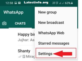 select settings in WhatsApp