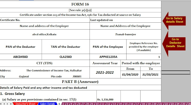 Income Tax Automated Revised Form 16 for the F.Y.2020-21