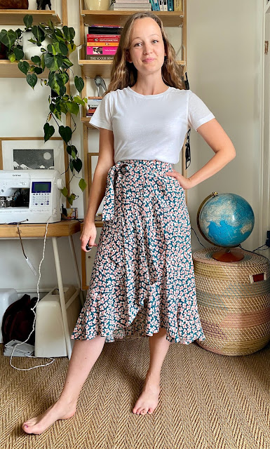 Diary of a Chain Stitcher: Made Label Frankie Wrap Skirt in Floral Viscose Crepe from The Fabric Store