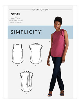 simplicity pattern S9045; a sleeveless top with scarf collar