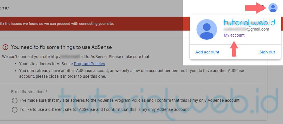 Cara Menghapus Akun Adsense pada gmail 1 Pilih My Account