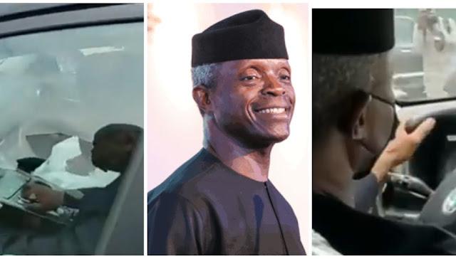 Watch the Moment, Vice President, Yemi Osibajo drives Kona, Nigerian-made electric car (Video)