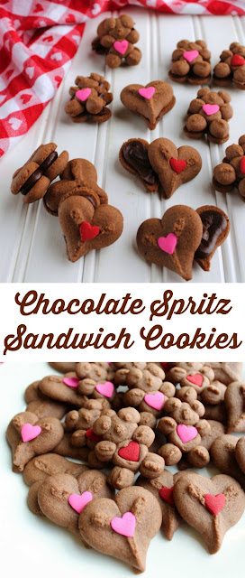 Cute chocolate cookies are just minutes away with fun spritz cookies. Sandwich some ganache frosting between them for an extra delightful dessert treat!