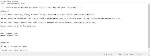 Shadow Cryptor (Ransomware)
