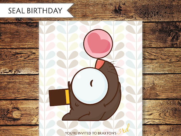 Children's Seal Birthday Invitation