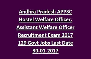 Andhra Pradesh APPSC Hostel Welfare Officer, Assistant Welfare Officer Recruitment Exam 2017 129 Govt Jobs Last Date 30-01-2017