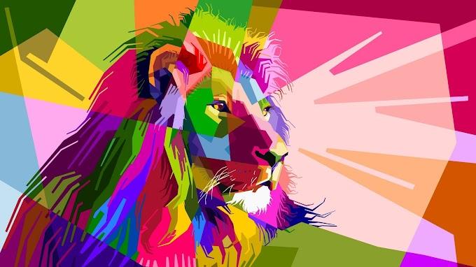Papel de Parede Leão Abstrato Colorido