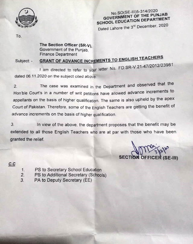 CLARIFICATION FOR GRANT OF ADAVACNE INCREMENT TO ENGLISH TEACHERS