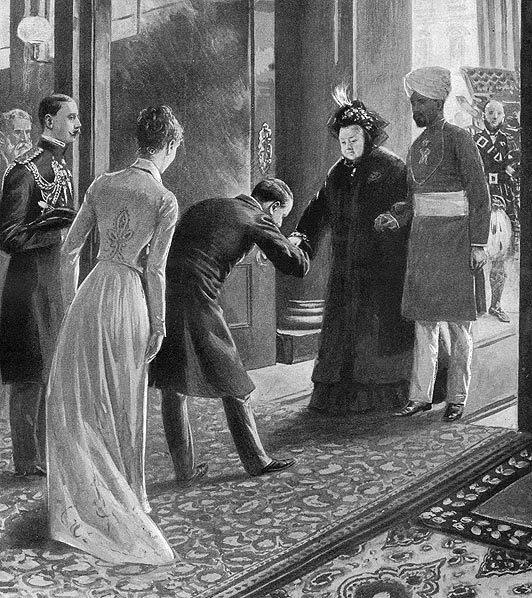Gravura de época Rainha Victória e Abdul com súditos