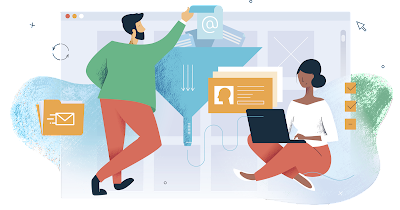 Cartoon illustration of two people working on computers