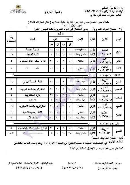 جدول امتحانات الدبلومات الثانوية التجارية 2016