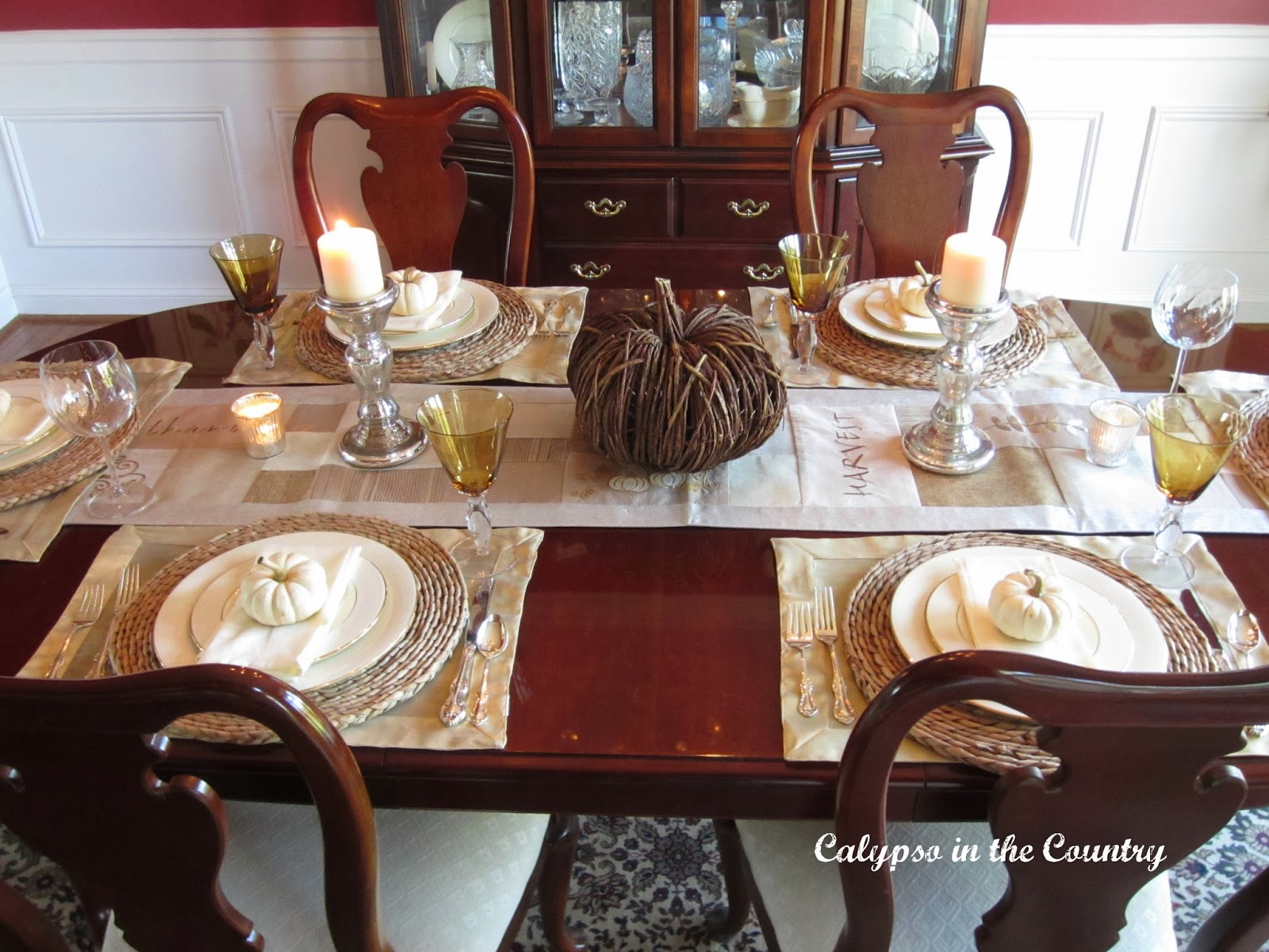 Fall Table Setting in the Dining Room