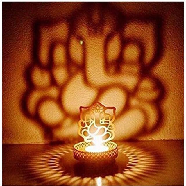 Decor-Metal-Divine-Shadow-Ganesh-Tealight-Candle-Holder