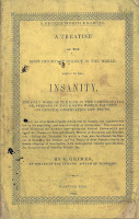 The cover of the pamphlet, colored yellow with a interesting woodcut border and the full title of the text along with a brief abstract of its contents.