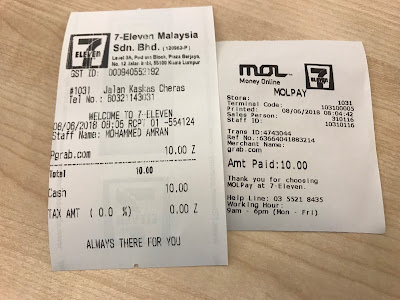 GrabPay - Top-up receipt after payment at 7-11