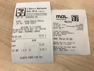 GrabPay - Top-up receipt after payment at 7-11