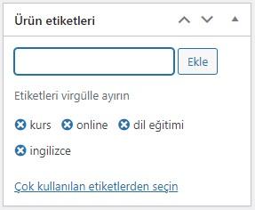 WordPress WooCommerce Ürün Etiketi Ekleme