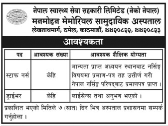 Vacancy Announcement Manmohan Memorial Hospital