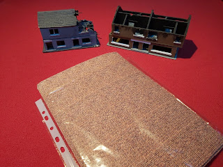 Scratch built buildings and some brick printed paper