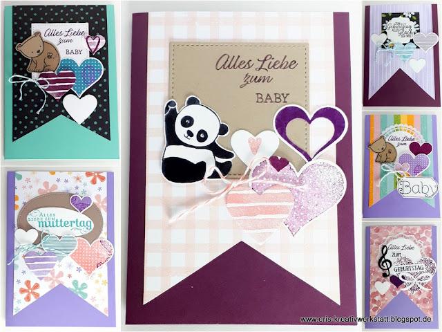 Grußkarten zum Baby, Muttertag und Geburtstag mit DP Wimpel Stampin' Up! www.eris-kreativwerkstatt.blogspot.de