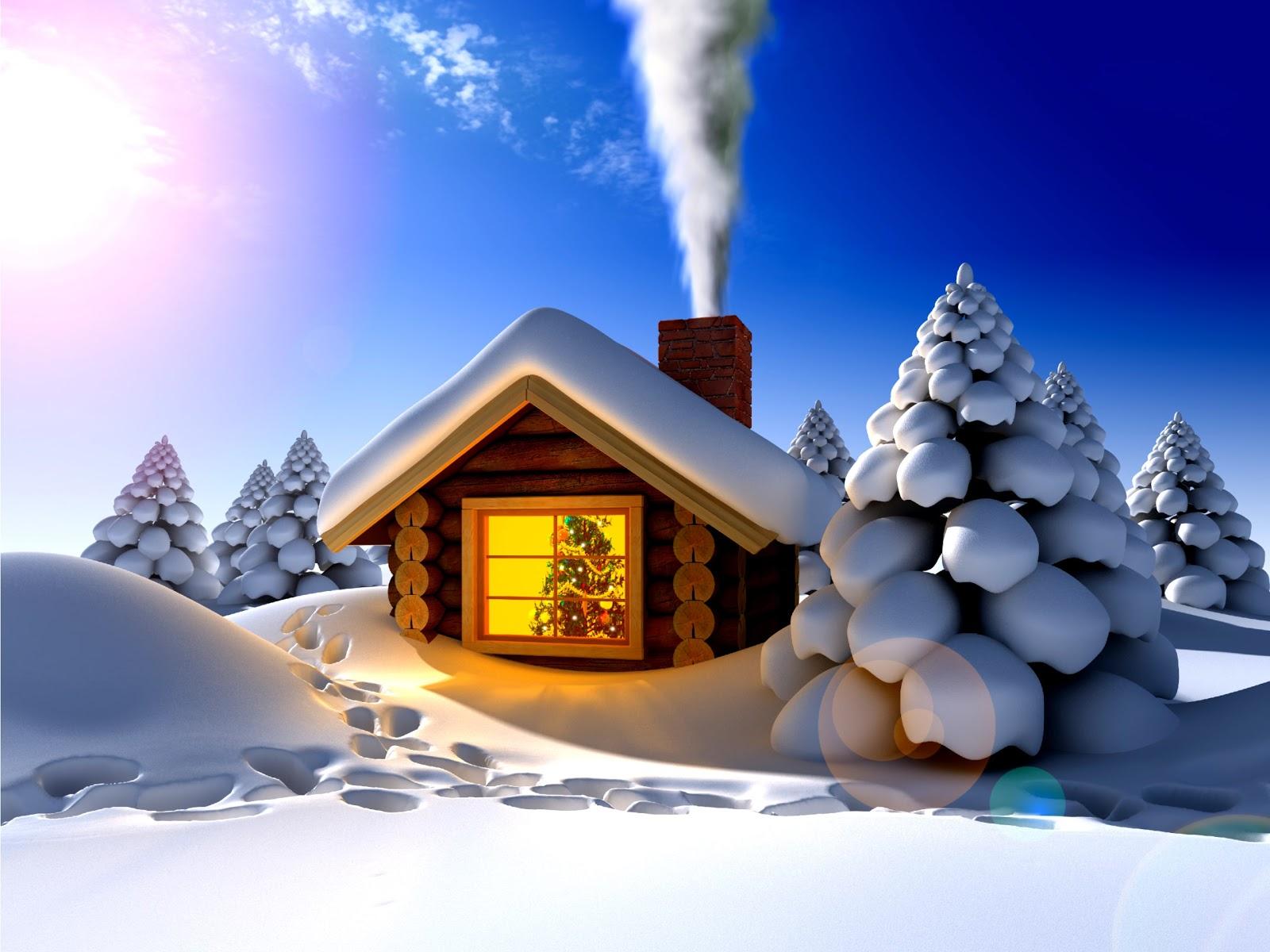 3D, neve, casa in legno, finestra, pini, impronte
