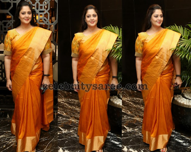 Nagma Light Yellow Silk Saree