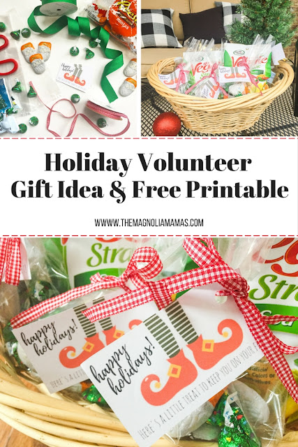 Holiday gift idea and free printable. Perfect gift for any volunteer, UPS, FedEx, USPS or delivery person.